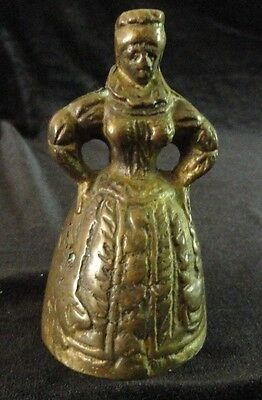 Vintage Brass Bell Elizabethan Lady with Feet Clapper
