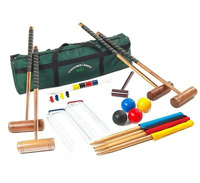 Garden Games Longworth 4 Player Croquet Set - UPGRADED- Full Sized Adult Set in