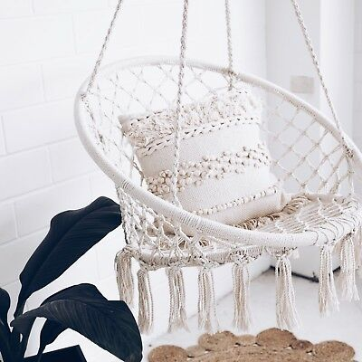 Macrame HAMMOCK CHAIR Swing Relax in Luxury Comfort Handmade Shabby Cream NEW