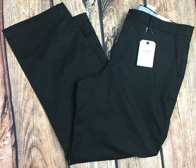 NWT Lands End Mens Care Free Chino Flat Front Traditional Fit Black Pants 38x32