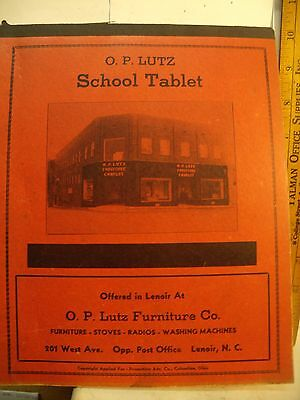 Antique Advertising O P LUTZ FURNITURE CO LENOIR, NC SCHOOL Tablet 1950 NOS