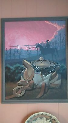 Framed Oil Painting by Navajo Artist Fred Cleveland of a Mexican Rider