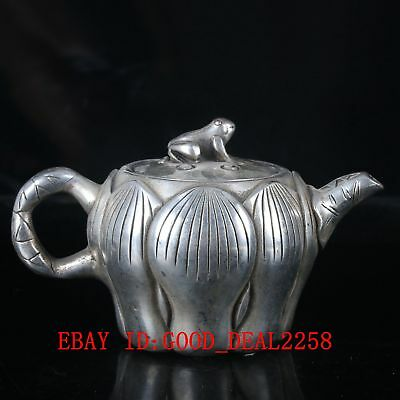 Old  Silver Copper Handwork Carved Lotus Teapot With a Cute Cover    BT059
