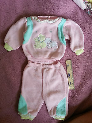 Vintage Little Girl's Matching Top/pants, 0-3 Months - Bears Image-Pastel Colors