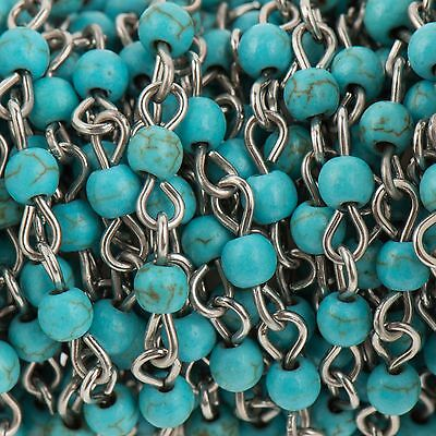 13ft TURQUOISE BLUE Howlite Rosary Chain, Silver Bead Chain, 4mm fch0714b