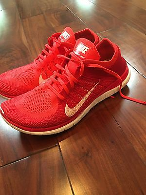 Men's Nike Free 4.0 Flyknit Running Shoes Crimson Red Size 11.5