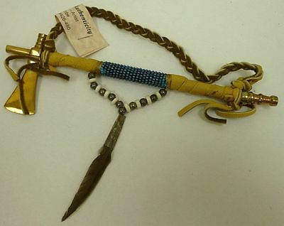 Authentic Functional Brass Ax Peace Pipe Navajo Cybill Smith COA Turquoise Blue