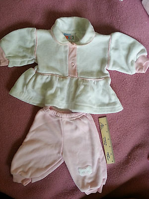 Vintage Little Girl's Matching Top/pants, 0-6 Months - White And Pink, Very Soft