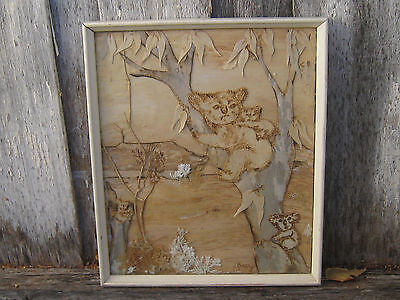 1960s Australiana OLD bark picture signed KOALA bear GUM tree framed under glass