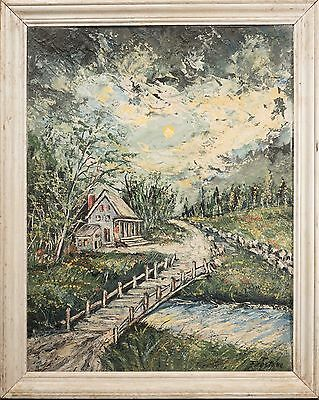 Isadore Louis Firestone Original Oil Painting, Beautiful Heavy Impasto Landscape