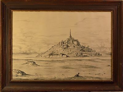 "Old Pencil Drawing of French Castle on Rocky Island Signed ""John M. Martin""!!"