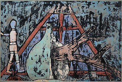 Mixed Media Painting on Paper, Abstract Figure & Forms, Unsigned & NICE!