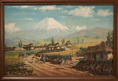 Antique Oil Painting South American Mountain Landscape w/ Village, BEAUTIFUL!