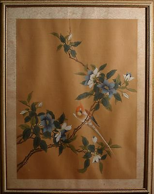 Antique Asian Painting on Silk of Flowers and Birds! Framed & BEAUTIFUL!