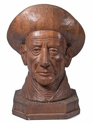 Outstanding Antique Carved Wooden Fisherman Bust, Illegibly Signed & Beautiful!