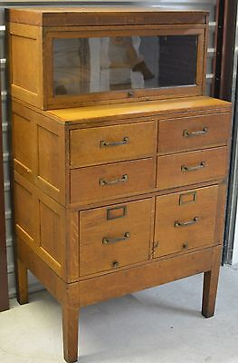Stunning Globe Wernicke Filing Cabinet, Drawers & Glass Book Shelf, RARE PIECE!