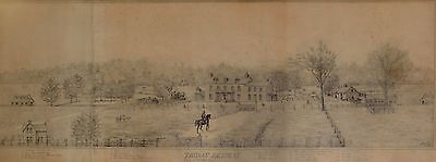 STUNNING Hand Drawn Pencil of Early American Estate Signed & Dated 1884 AMAZING!