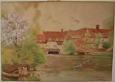 """Early 20th Century Watercolor Landscape """"Flatford Mill"""" Signed Dated 1930, NICE!"""