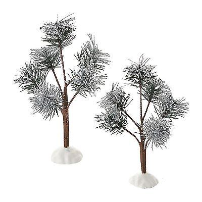 Dept 56 Village Accessories Silver Sparkle Pines Set of 2 4051956 New MIB