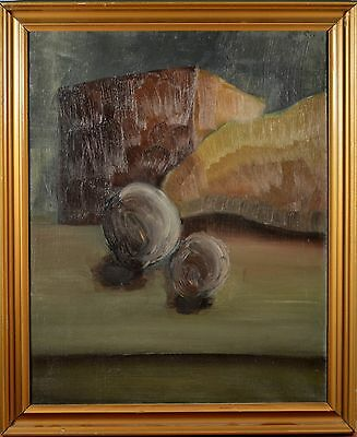 Beautiful Antique Danish Oil Painting Still Life, Cheese & Fruit, Early 1900's!!