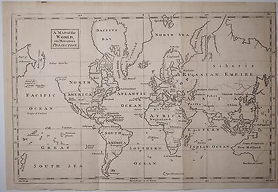 Antique Map of the World on Mercators Projections, Mid 1800's, Fine! Watermark