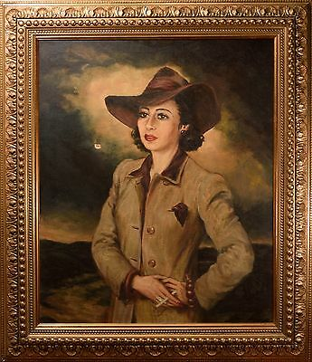 """Beautiful Mid-Century Oil Painting Female Portraitby """"Theodore Werner"""" Film Noir"""