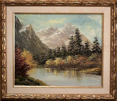 Vintage Chinese Oil Painting on Canvas of Mountain Landscape w/ Gallery Label