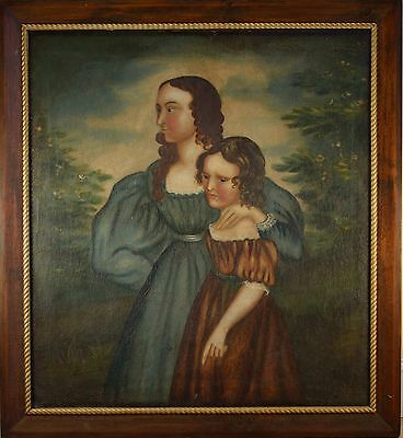OUTSTANDING Early American Portrait of Mother & Daughter Late 1700 Early 1800's!