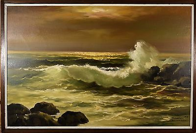 """Beautiful Vintage Seascape OIl Painting Signed """"Duli Fernandez"""" Great Condition!"""