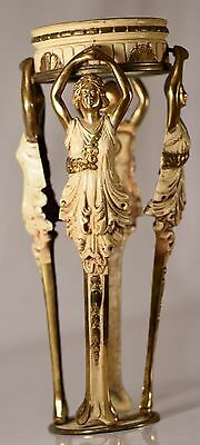 Antique Art Deco Brass 4 Woman in White Dress, BEAUTIFUL for Repurpose & Design
