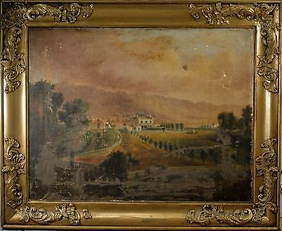 Antique Oil Painting on Canvas, Large American Plantation, OUTSTANDING QUALITY!