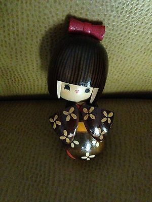 Vintage Traditional Kokeshi Japanese Wooden Doll Signed