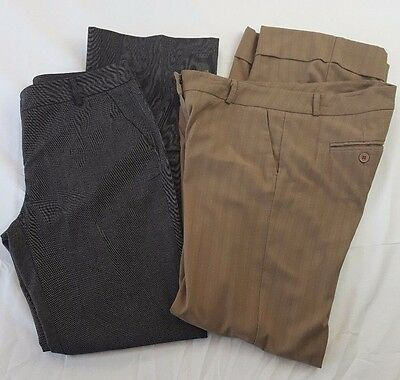 New York & Company Lot (2 pants) size 4 stretch career wear gray & beige  A0305