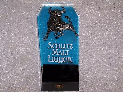 Vintage Beer Tap Handle Schlitz Malt Liquor, Bull, Blue Resin Lucite