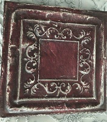 """Burgundy Antique 11"""" Square Tin Ceiling Tile Re Purpose Re Claimed Art 1880 Wood"""