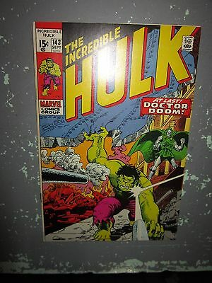 "The Incredible Hulk #143 (Sep 1971, Marvel) VF nice book ""DOCTOR DOOM APP."""