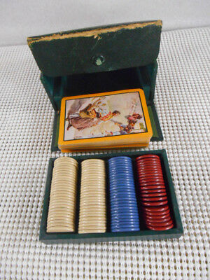 """103 Vintage 7/8"""" CLAY POKER CHIPS in Snap Case w Deck Playing Cards"""