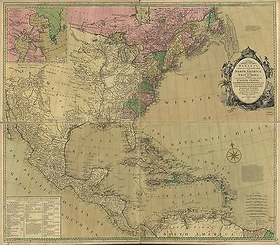12x18 inch Reprint of British Colonies Empire Map Northern Usa