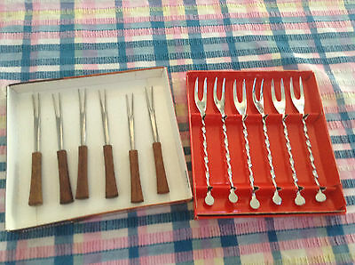 RETRO *****. 2 SETS of  COCKTAIL FORKS