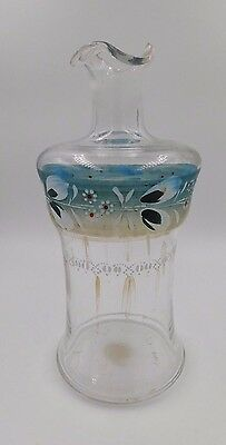 Antique Handpainted Glass Barber or Perfume Tonic Bottle or Decanter