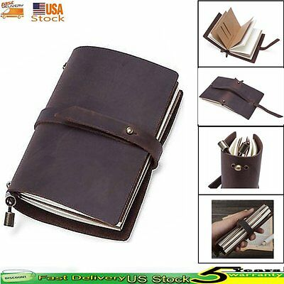 Handmade Real Leather Diaries Notebooks Journals Travel Bound Cover Gift Book US