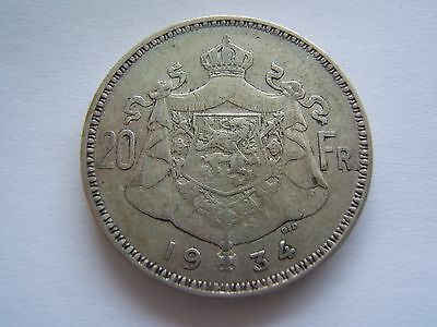 20 FRANCS (20 Frank) 1934 Belgium Silver Coin in A Uncirculated King Albert