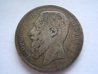 2 FRANCS 2 Frank 1867 Belgium Silver Coin of Leopold II