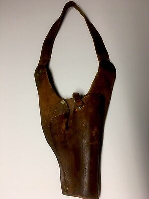Old Worn Out Leather Shoulder Holster for Western Home Decor or Movie Props