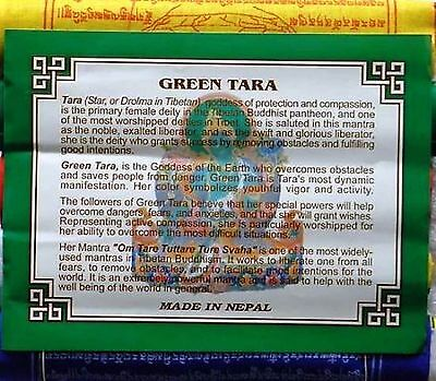 Tibetan Prayer Flags Green Tara Mantra Remover of Obstacles & Fears X 5 Rolls