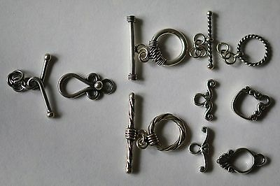 1 X Bali 925 Sterling Silver Small Toggle Clasps, Many Designs!