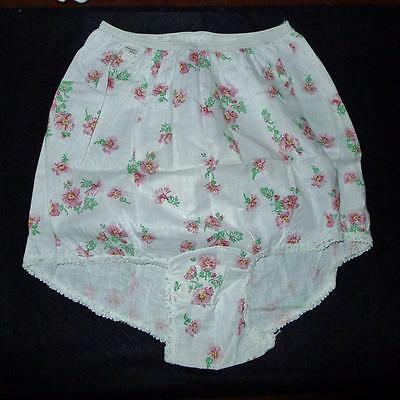 WOW! Vintage~GRANNY All Cotton Linen~FLORAL Panties,Briefs  Sz Large