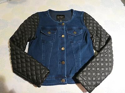 EUC Jessica simpson Big Girl M 10 /women xxs denim/quilted leather fall jacket