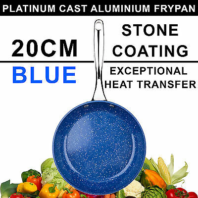 20cm QUALITY Non-Stick Frypan, Fry Pan, BLUE Stone Coated, Cookware, Ceramic