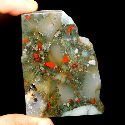 193.00 Cts Aaa Quality  61X45 Mm Blood Stone Slice Cabochon Rare Loose Gemstone